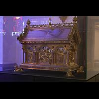 Mönchengladbach, Münster St. Vitus (Hauptorgel), Abendmahlsschrein, enthält der Legende nach Fragmente des Abendmahlstuchs Jesu