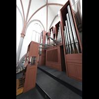 Mönchengladbach, Citykirche (Positiv), Orgel mit Spieltisch und Regalwerk seitlich