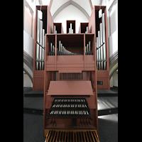 Mönchengladbach, Citykirche (Positiv), Rückpositiv mit Spieltisch und Orgel