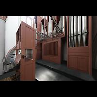 Mönchengladbach, Citykirche (Positiv), Regaöwerk mit Spieltisch und Orgelprospekt