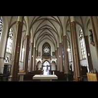 Willich - Anrath, St. Johannes Baptist, Innenraum in Richtung Westwand