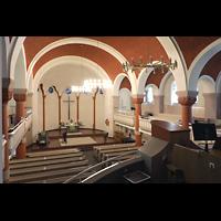 Berlin (Reinickendorf), Dorfkirche Alt Tegel (ev.) - Positiv, Blick von der Orgelempore in die Kirche und zum Positiv