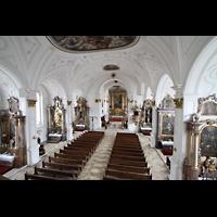 Weilheim, Mariae Himmelfahrt, Blick von der Orgelempore in die Kirche
