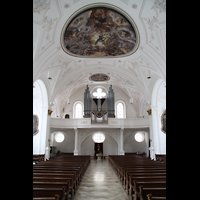 Weilheim, Mariae Himmelfahrt, Innenraum / Hauptschiff in Richtung Orgel