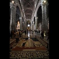 Siena, Cattedrale, Hauptschiff mit Figuren als Intarsienarbeit im Marmorboden
