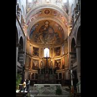 Pisa, Duomo di Santa Maria Assunta (Hauptorgel), Chor mit Mosaik des Christus Pantokrator in der Apsis
