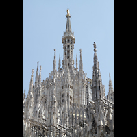Milano (Mailand), Duomo di Santa Maria Nascente, Turm mit goldener Madonna und verziertem Strebewerk