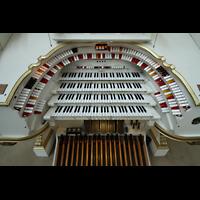Berlin (Tiergarten), Musikinstrumentenmuseum - Gray-Orgel, Spieltisch der Wurlitzer-Orgel von oben
