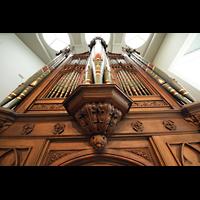Berlin (Tiergarten), Musikinstrumenten-Museum - Gray-Orgel, Blick vom Spieltisch der Gray-Orgel nach oben aufs Hauptwerk