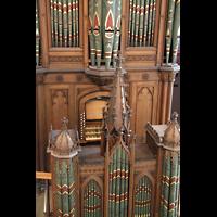 Berlin (Tiergarten), Musikinstrumenten-Museum - Gray-Orgel, Rückpositiv und Hauptwerk mit Spieltisch