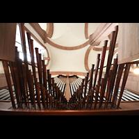 Himmerod, Zisterzienserabtei, Blick vom Spieltisch nach oben auf die Chamaden