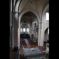 Trier, Dom St. Peter (Kryptaorgel), Blick vom Spieltisch der Chororgel zur Hauptorgel