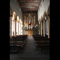 Trier - Pfalzel, Marienstiftskirche, Hauptschiff / Innenraum in Richtung Orgel