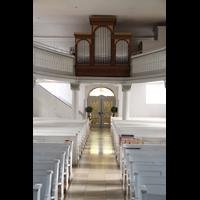 Völklingen - Ludweiler, Hugenottenkirche, Mittelgang mit Orgel