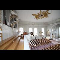 Saarbrücken, St. Johann Basilika, Orgelempore und Innenraum