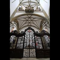 Augsburg, St. Ulrich und Afra, Ziergitter im Eingangsbereich mit Blick zur Orgel