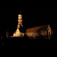 Augsburg, St. Ulrich und Afra, Außenansicht bei Nacht