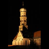 Augsburg, St. Ulrich und Afra, Turm bei Nacht