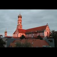 Augsburg, St. Ulrich und Afra, Außenansicht bei Sonnenuntergang