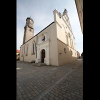 Weilheim, Mariae Himmelfahrt, Außenansicht vom Marienplatz aus