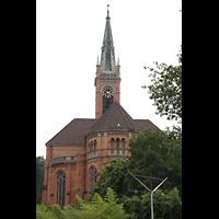 Düsseldorf, Johanneskirche, Blick auf Chor, Querhaus und Turm