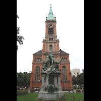 Düsseldorf, Johanneskirche, Turm, Fassade und Brunnen