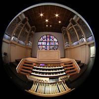 Detmold, Heiig-Kreuz-Kirche, Spieltisch und mittlerer Orgelprospekt