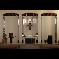 Detmold, Heiig-Kreuz-Kirche, Chorraum mit Altar
