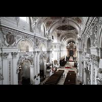 Waldsassen, Stiftsbasilika, Blick von der Orgelempore ins Hauptschiff