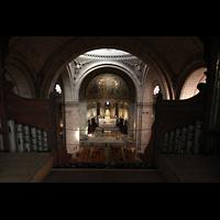 Paris, Basilique du Sacré-Coeur (Hauptorgel), Blick vom Dach der Orgel in die Kirche