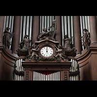 Paris, Saint-Sulpice (Chororgel), Details, Uhr und Figurenschmuck am Orgelgehäuse