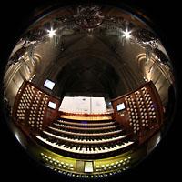 Paris, Cathédrale Notre-Dame (Hauptorgel), Gesamtansicht Spieltisch und Teile des Prospekts