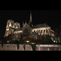 Paris, Cathédrale Notre-Dame (Hauptorgel), Gesamtansicht von außen bei Nacht