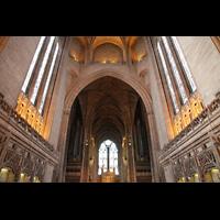 Liverpool, Anglican Cathedral (Hauptorgelanlage), Blick vom Zentralraum zur Orgel