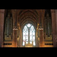 Liverpool, Anglican Cathedral (Hauptorgelanlage), Orgelprospekt in Richtung Langhaus