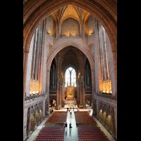 Liverpool, Anglican Cathedral (Hauptorgelanlage), Blick vom Lettner in den Zentralraum