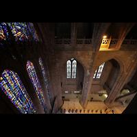 Liverpool, Anglican Cathedral (Hauptorgelanlage), Blick vom Umgang der Obergaden ins Hauptschiff