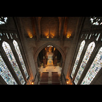 Liverpool, Anglican Cathedral (Hauptorgelanlage), Blick vom Kuppelumgang in den Zentralraum