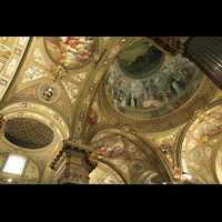 Pompei, Santuario della Madonna, Blick ins Deckengewölbe und in die Kuppel