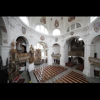 Muri, Klosterkirche (Chorpositiv), Blick von der Empore der Evangelienorgel in die Kirche