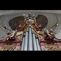 Muri, Klosterkirche (Hauptorgel), Figurenschmuck auf der Evangelienorgel