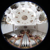Muri, Klosterkirche (Chorpositiv), Gesamtansicht von der Evangelienorgelempore aus
