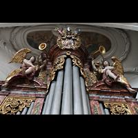 Muri, Klosterkirche (Chorpositiv), Figurenschmuck auf der Epistelorgel