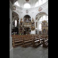 Muri, Klosterkirche (Chorpositiv), Innenraum in Richtung Epistelorgel