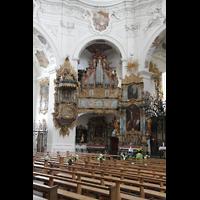 Muri, Klosterkirche (Chorpositiv), Innenraum in Richtung Evangelienorgel