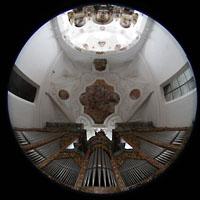 Muri, Klosterkirche (Chorpositiv), Gesamtansicht von der Hauptorgelempore aus