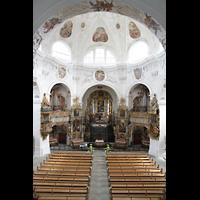 Muri, Klosterkirche (Chorpositiv), Blick von der Hauptorgelempore zur Evangelien- und Epistelorgel