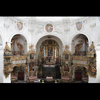Muri, Klosterkirche (Chorpositiv), Blick von der Hauptorgelempore in die Kirche