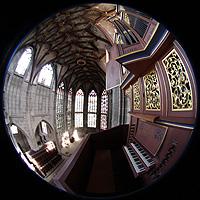 Bern, Münster St. Vinzenz (Forschungsorgel), Chororgel und Gesamtansicht des Chorraums