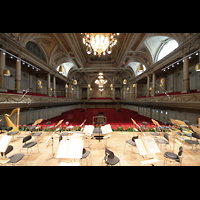 Zürich, Tonhalle, Blick von der Orgel in den Saal